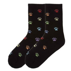 colorful paw print socks